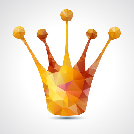Golden crown triangle symbol - vector illustration