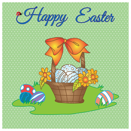 laying egg: happy easter pastel card of basket with eggs flower and bow on meadow Illustration