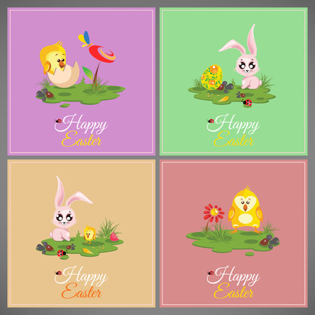 butterfly rabbit: Happy easter pastel cards set meadow with rabbit chicken newborn butterfly eggs flower ladybug