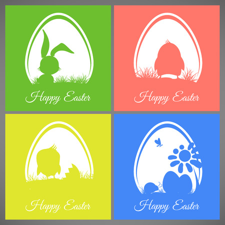 butterfly rabbit: Happy easter pastel colorful cards set meadow with rabbit chicken newborn butterfly