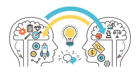 línea plana página web diseño de la bandera de intercambio de ideas, de diálogo y controversia, experiencias, conocimientos, nacido el inicio del proyecto empresarial, el mecanismo de proceso de pensamiento para el diseño web, marketing y material de impresión