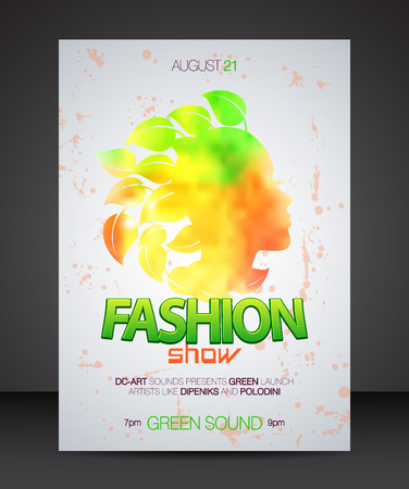 fashion show: Fashion show with multicolor woman silhouette with leaves hair Illustration