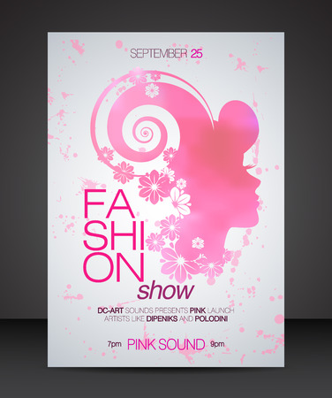 fashion show: Fashion show with floral hair pink beautiful woman silhouette