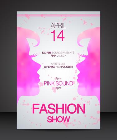 desfile de moda cara a cara rosada hermosa silueta de la mujer Ilustración de vector