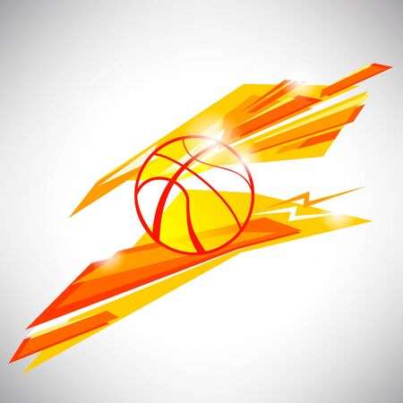 triangular banner: icon, symbol and sign design concept of basketball ball on orange triangular abstract lines and shapes background for website blog banner and  t-shirt printed material