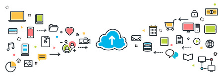 page long: flat line modern design illustration concept of saving cloud service with icons long background for website blog banner and landing page. Infographic icon elements