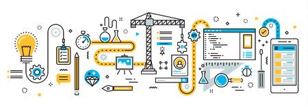 debugging: Flat line design illustration concept plan of mobile application development process, app design, programming, coding, building and debugging for website banner and landing page, infographics