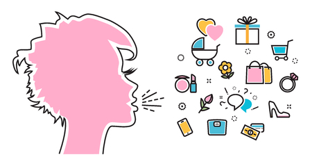 wish desire: Flat line illustration of woman shouts and talk about their favorite interests, wanted, dream, idea, desire, wish. Website blog banner, infographic elements, icon and thought process Illustration