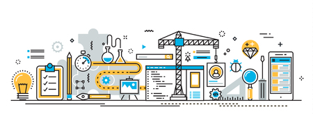 debugging: Flat line vector design concept of mobile application development process, app design, programming, coding, building and debugging for website banner and landing page header, infographics