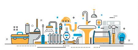 Flache Linie Vektor-Design-Konzept von Sanitär-und Handwerker-Service, houseproblems, Malerei, Reparaturen Präsentationsvorlage für die Website-Banner linear und Landung Seitenkopf, Timeline, Infografiken