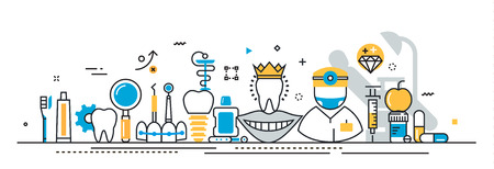 Konstrukcja płaskiej linii wektora koncepcji stomatologii i stomatologa, klinika stomatologiczna, szablon prezentacji ekspertyzy medycyny na stronie internetowej linia liniowa i nagłówka strony docelowej, linia czasu, okładka, infografiki Ilustracje wektorowe