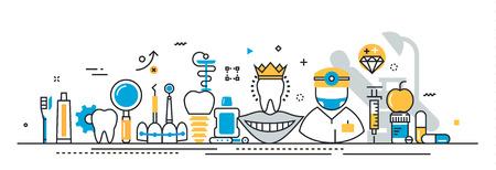 línea plana de diseño vectorial concepto de estomatología y al dentista, clínica dental, medicina plantilla de presentación de la experiencia lineal bandera del Web site y la cabecera de la página de destino, línea de tiempo, la cubierta, la infografía Ilustración de vector