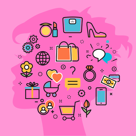 stereotypes: Flat line vector illustration design pink background of women thought process wanted, dream, idea, desire, wish, habits, stereotypes, woman favorite interests. Website blog banner, infographic elements