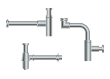 waterway: Set of modern European metal nikel siphons esthetic appearance to original design of room, bottle with flask, for wash basin, sanitary devices for connection to sewer pipe for labels of cleaners