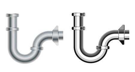 fixtures: Set of popular realistic pipe U siphons for wash basin, sanitary devices, plumbing fixtures, metal, nickel, chrome luxury for connection to sewer pipe for labels of cleaners, printed materials
