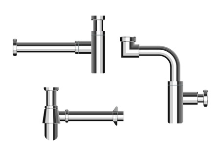 kitchen shower: Set of modern European metal chrome luxury siphons esthetic appearance to original design of room, bottle with flask, for wash basin, sanitary devices for connection to sewer pipe for labels of cleaners Illustration