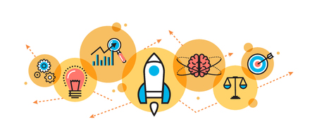 Flat line illustration of business project startup process from idea to success for website banner and landing page, header, infographics, logo and icon in circle. Concept for printed materials