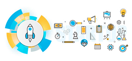 Flat line design illustration concept of scheme and plan business project startup process banner for website and landing page, infographics, logo and icon. Idea, analysis, plan, investment, start Illustration