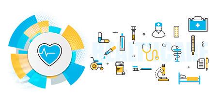 medical symbol: Flat line vector design concept of medicine and healthcare, clinic, hospital, ambulance service banner for website header and landing page in circles digital element, linear, timeline, infographics