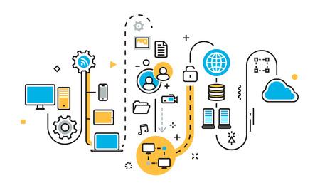 グラフ、計画、方式、機構、構造、アルゴリズム、クラウド ストレージ作業、大きなバタの保存のステップの平坦な線図概念同期サービスをアップ  イラスト・ベクター素材