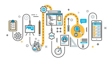 Flat line illustration concept of graph, plan, scheme, algorithm, step of mobile application development process, app design, programming, coding, building and debugging for website banner Stok Fotoğraf - 80908018