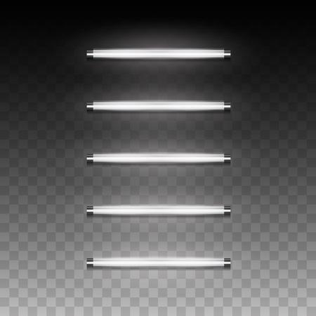 3d réaliste vecteur longue luminescence lampe fluorescente à économie d'énergie de la lumière diffusée pendant la journée avec une faible température de fonctionnement, éclairage artificiel local et général pour ofice, suspension industrielle, salle