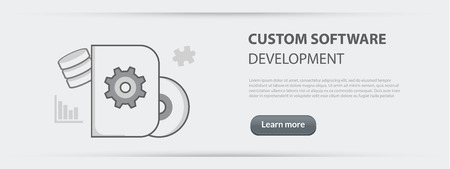 debugging: Flat line illustration business concept web banner of custom software development company site services, app design, programming, coding, building and debugging for websites and marketing materials on gray paper background