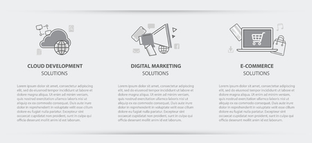 website header: Flat line illustration business concept menu banner set of cloud development, digital marketing and e-commerce solution company site services for websites on gray paper background