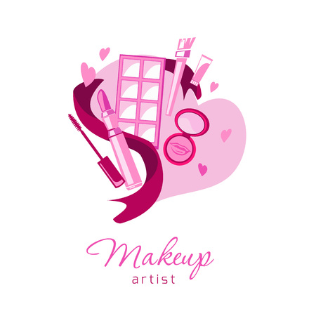 Cosmetics and fashion background for business card, beauty salon, visage, and beauty logo emblem.