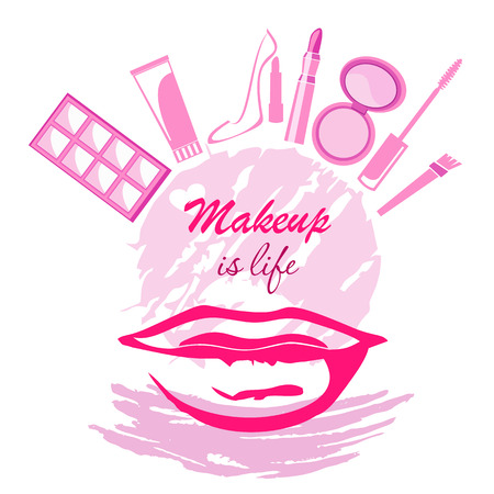 Trend beauty logo emblem makeup if life concept with lips, cream, brush, mascara, eyeshadow, lipstick, shoe on circle and paint color dab.