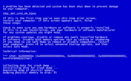 Interrupt request level classic blue screen of death (BSOD) error. Driver and memory error, incompatible device, software and hardware problem. System Crash Report Background. Vector Illustration Illustration