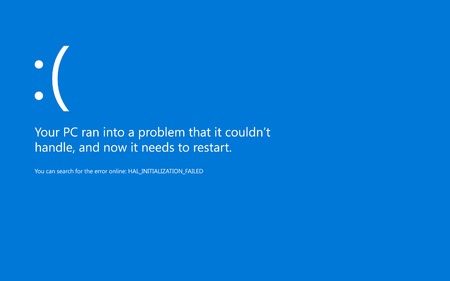 Modern blue screen of death (BSOD) error. Start of software, usb, connection devices, sleep mode and hardware problem. System Crash Report Background. Vector Illustration