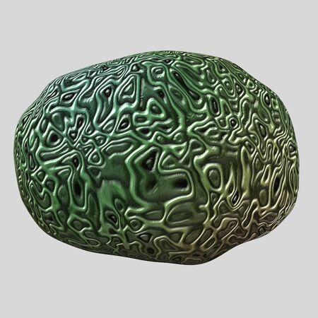 whorls: Isolated brain on light background. Detailed brain whorls.