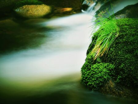 Mountain river with blurred waves of clear water. White curves in rapids Between mossy boulders and bubbles create trails on the level. Stock Photo