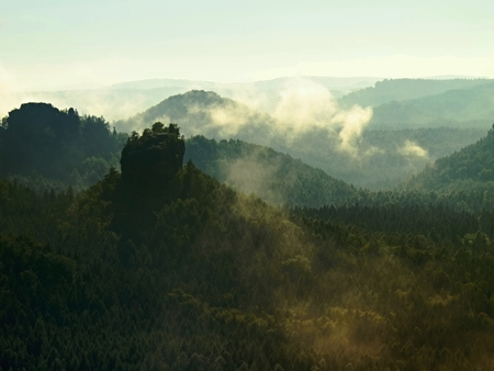 increased: View into deep misty valley in Saxony Switzerland. Sandstone peaks increased from mist, the fog is orange due to sunrise.