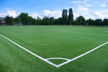 green line: White corner line on green football field