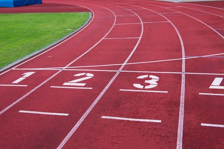 racetrack: Red running racetrack on the stadium