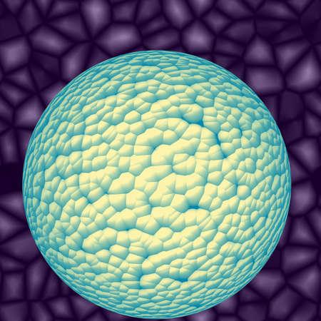 secretion: Dangerous blue green bacterias or virus spheres in secretion Stock Photo