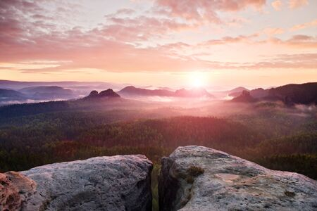 beautiful scenery: View over sandstone cliff into deep misty valley in Saxony Switzerland. Sandstone peaks increased from foggy background, the fog is orange due to sunrise.