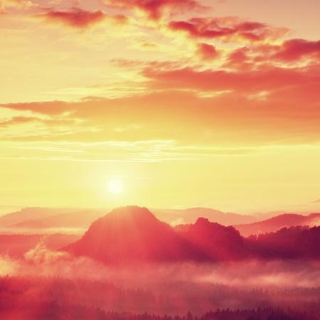 赤霧の夜明け。美しい丘の秋霧の朝。丘の山頂が霧の背景から出ている、霧は赤とオレンジ色の太陽光線のため。 写真素材