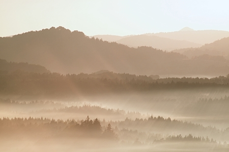 scenic view: Gentle misty landscape in hilly country. Retro style filter. Orange toning effect. Stock Photo