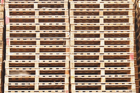 manufactured: Outside stock of new wooden euro pallets Manufactured Stock Photo