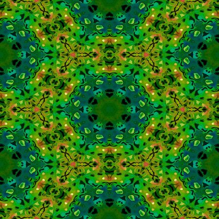 used ornament: Abstract green vintage orient paisley ornament. Seamless pattern can be used for wallpaper, pattern fills, background, textures. Kaleidoscopic style