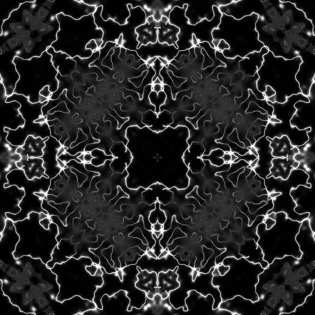 vitrage: Rich decorated calligraphic outlined stroke monochrome seamless pattern. Kaleidoscopic ornate floral design.