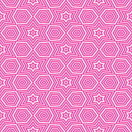 bounding: Pink shinning neon shapes on white background. Rich outlined stroke. Seamless ornate traditional design. Stock Photo