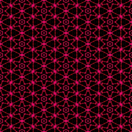 bounding: Pink red neon shapes on dark background. Rich outlined stroke. Seamless ornate traditional design.