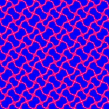 shinning: Pink shinning neon shapes on bright blue background. Rich outlined stroke. Seamless ornate traditional design.