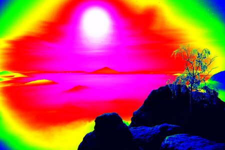 thermogram: Fantastic infrared scan of rocky landscape, pine forest with colorful fog, hot sunny sky above. Grunge background in amazing thermography colors.
