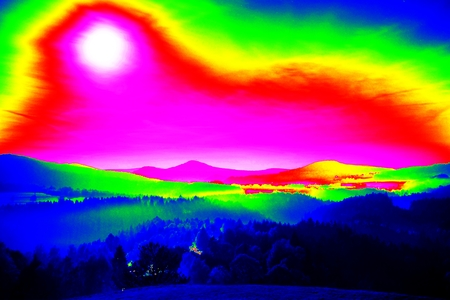 Infra scan, Landscape misty panorama. Fantastic dreamy sunrise on rocky mountains with view into misty valley below
