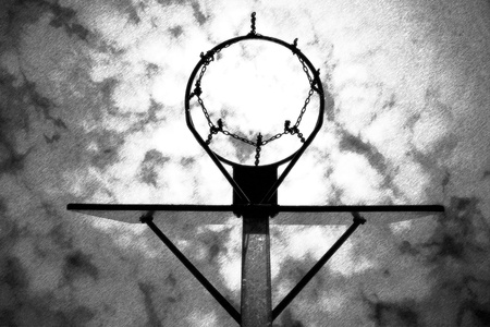 neglect: Black and white dashed retro sketch. Old neglect basketball backboard with rusty hoop above street court. Blue cloudy sky in bckground.